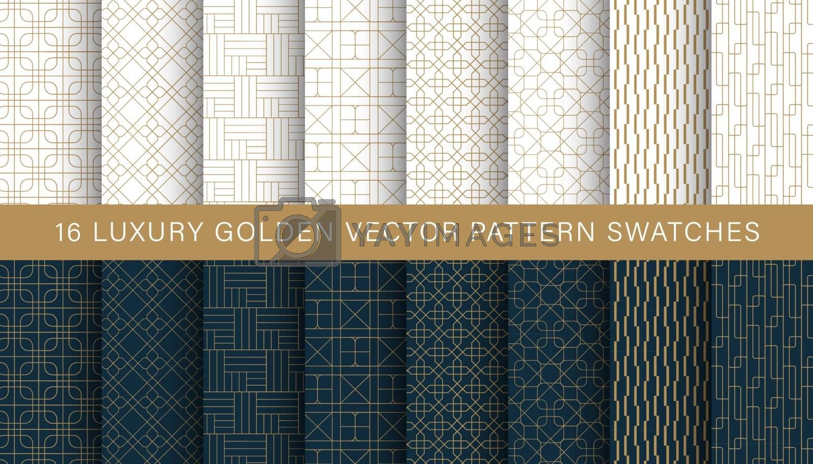 Luxury geometric golden pattern vector swatches