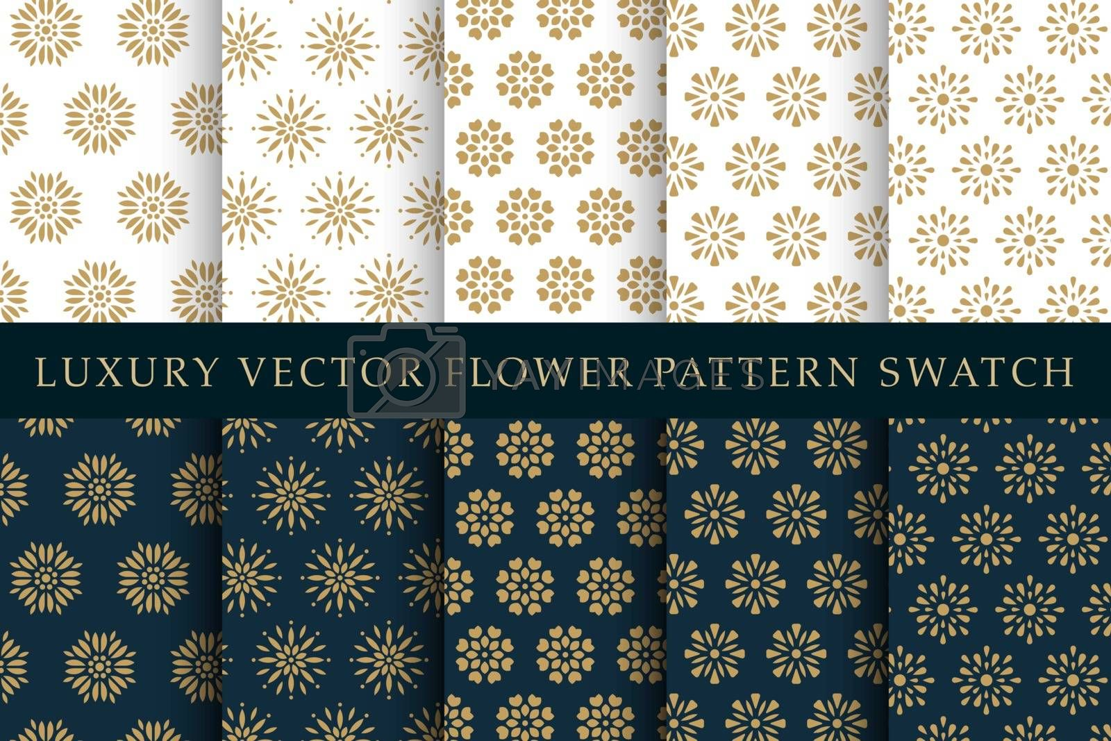 Golden luxury abstract flower concept vector swatches pattern pack