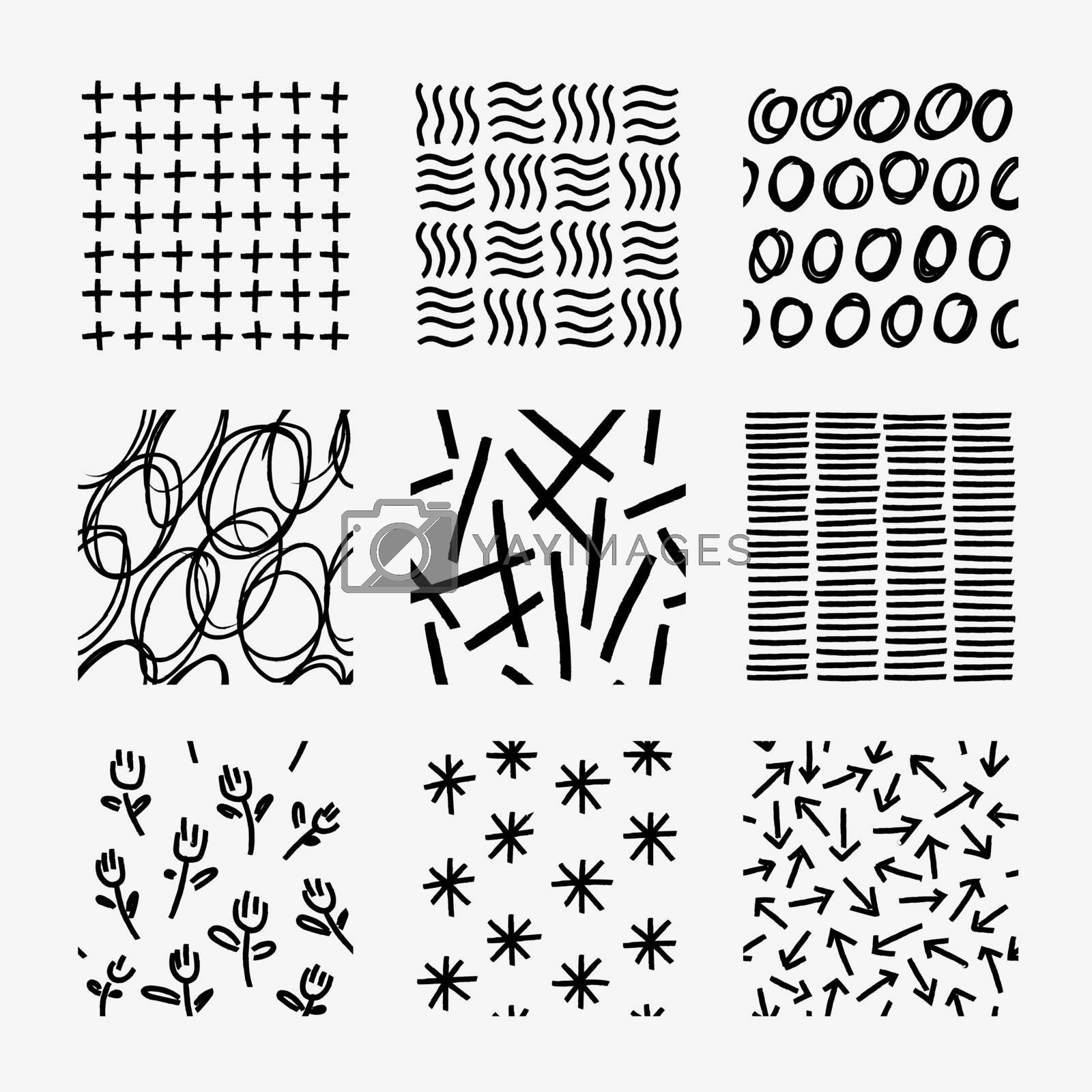 Freehand pattern design vector swatch set