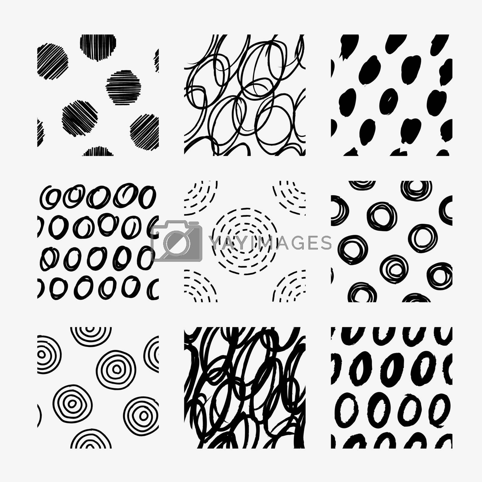 Hand draw circle pattern design vector swatch set