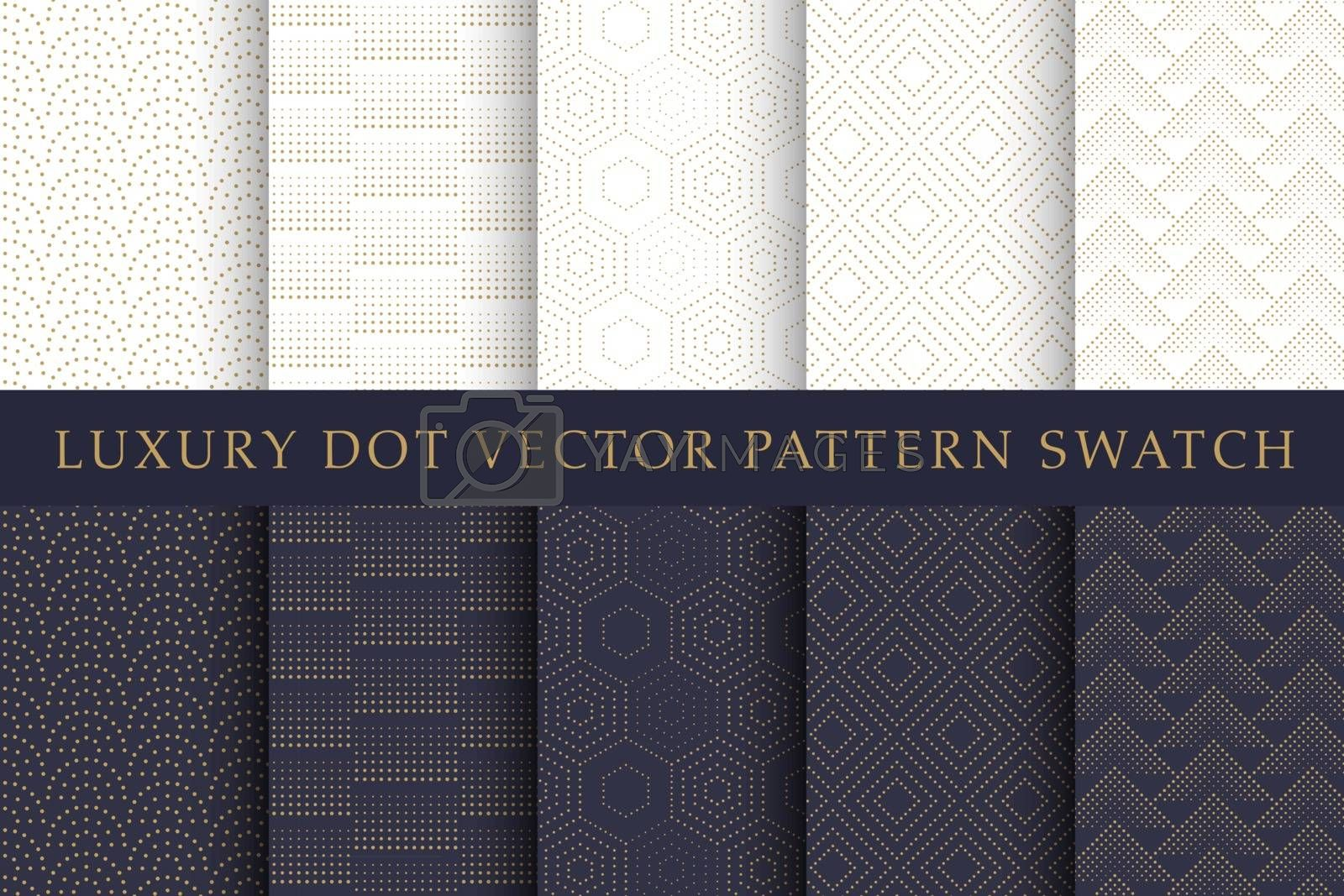 Golden luxury dot vector pattern swatch set