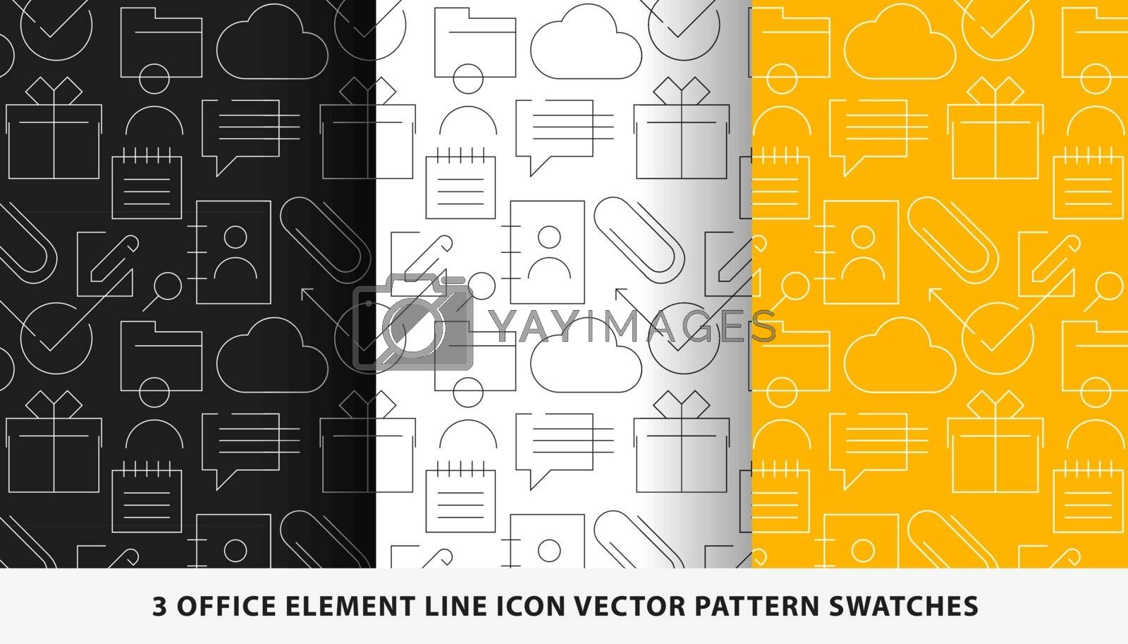 Office element line icon vector pattern swatches