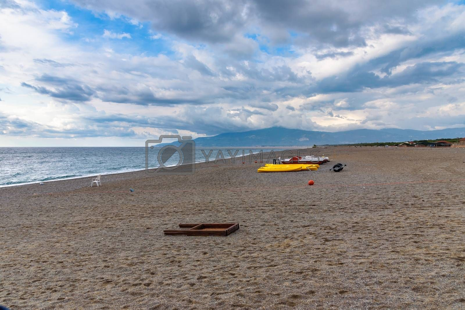 Royalty free image of Evening sky over the calabrian beach by mkos83