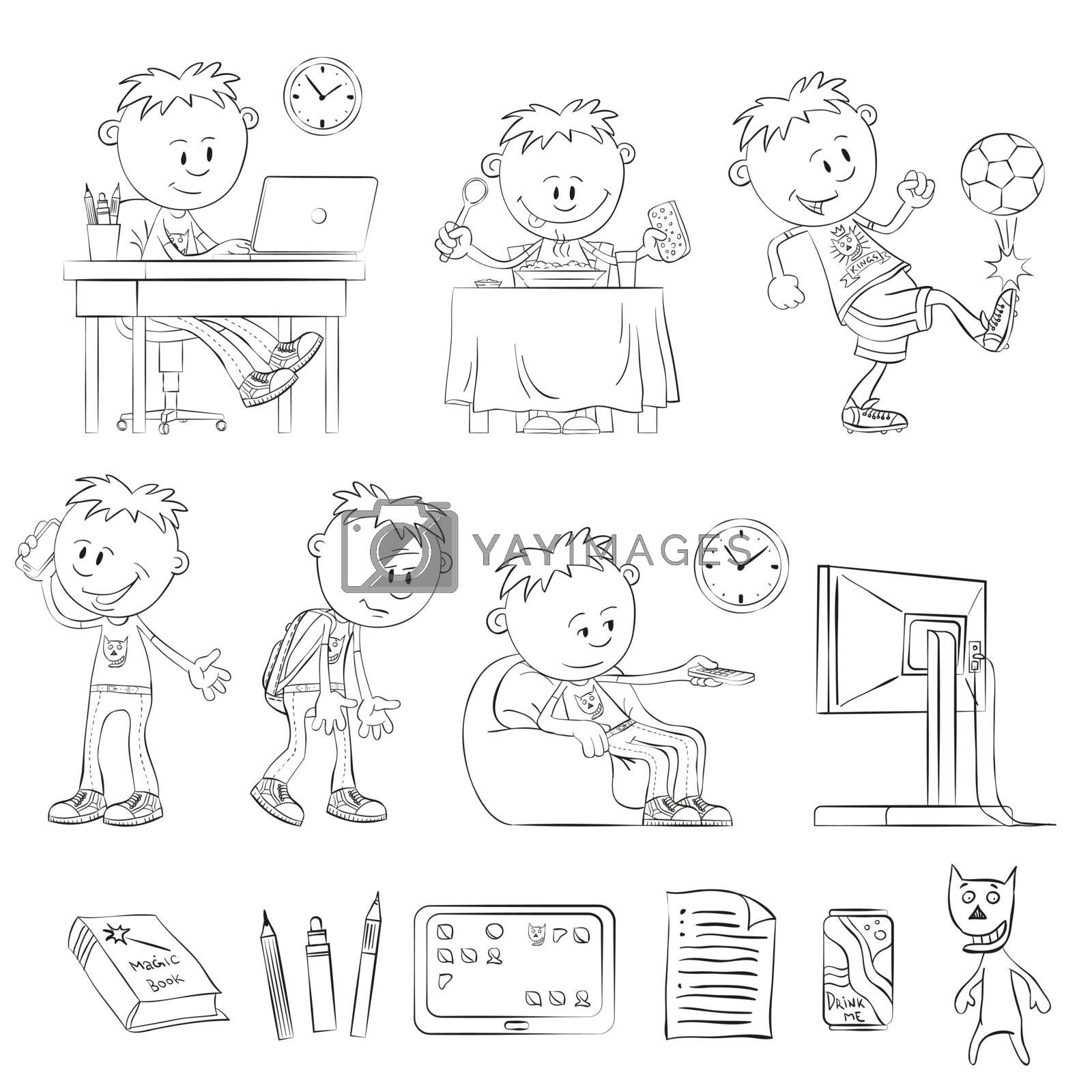What does a teenager - outline drawings. Teenager working with a laptop. Boy having breakfast. Boy playing soccer. Teenager calling on the phone. Tired boy. Boy watching TV. Items teenager.