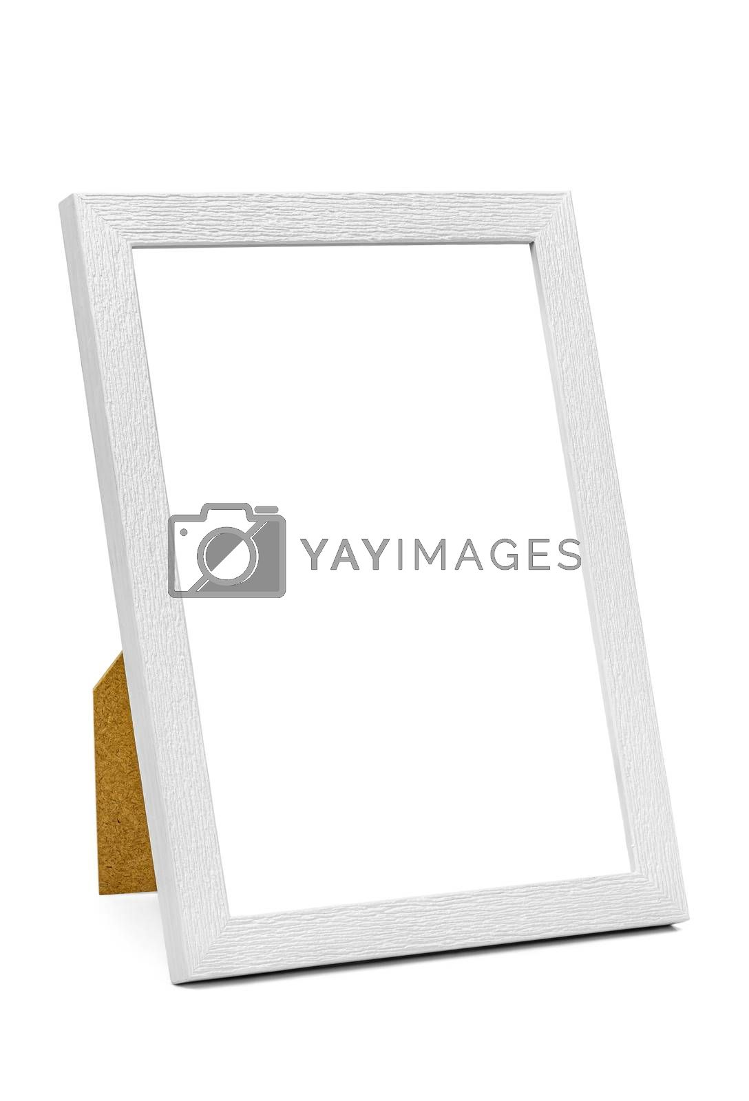 Vertical white wooden picture frame isolated on white background with clipping path