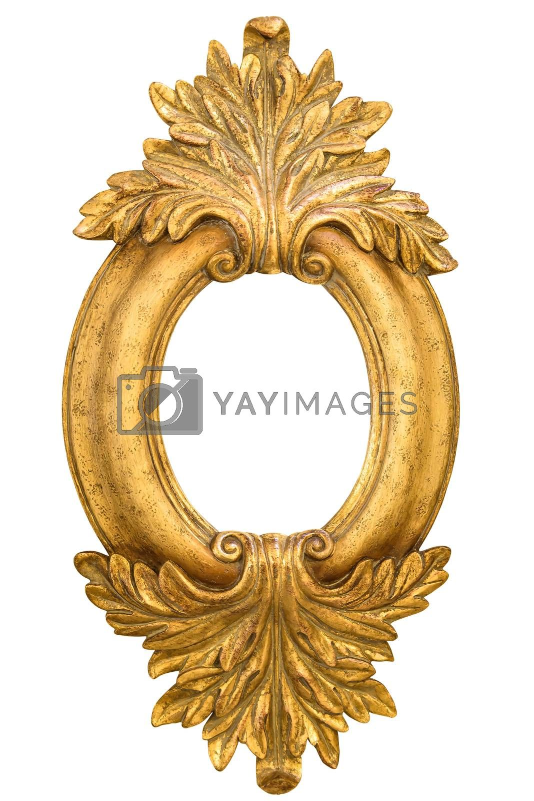 Royalty free image of Oval golden decorative picture frame isolated on white by mkos83