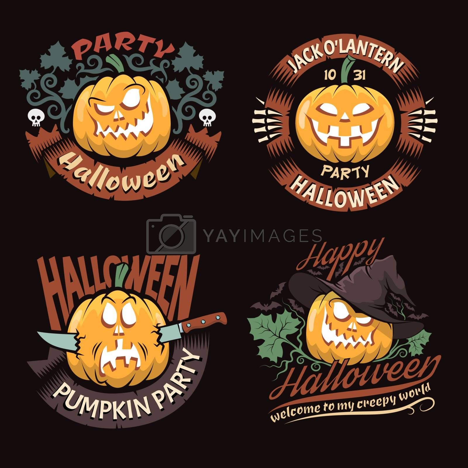 4 Halloween logo with pumpkins on a dark background in retro style.