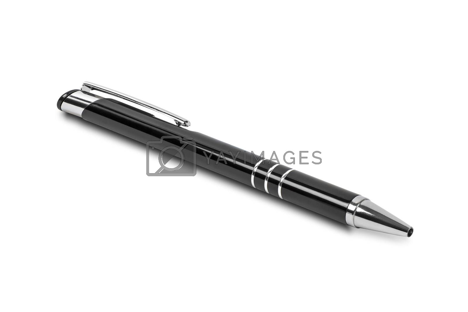 Black ballpoint isolated on white background with clipping path