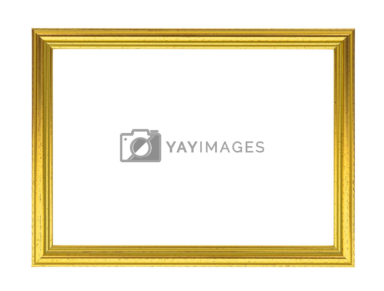 Golden decorative empty picture frame isolated on white background with clipping path