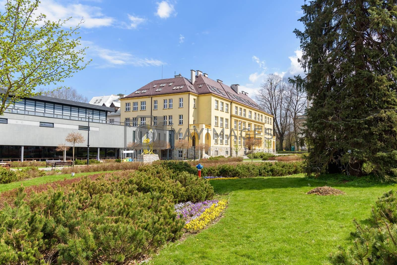Royalty free image of View of Hoff Square in Wisla in Poland by mkos83