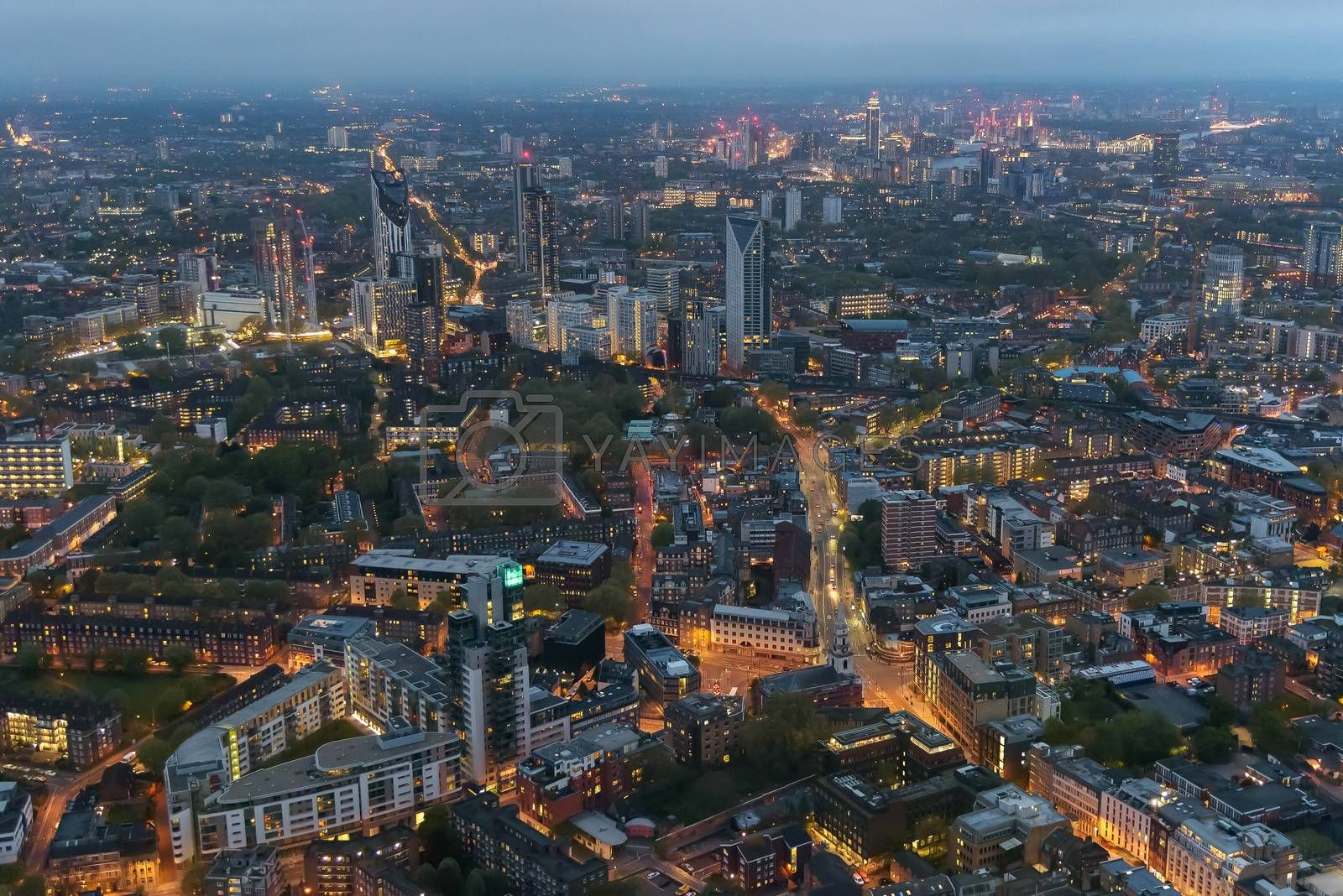 Royalty free image of Aerial view of Southwark district in London at dusk by mkos83