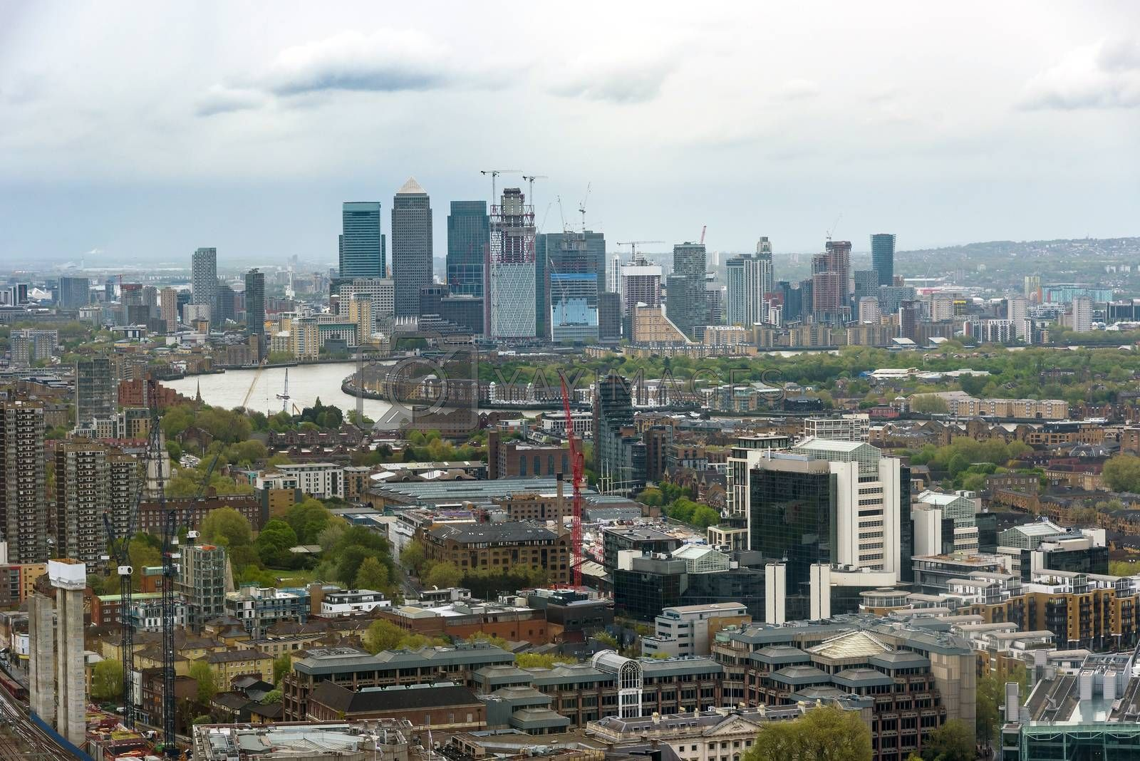 Skyline of eastern London with skyscrapers in the docklands