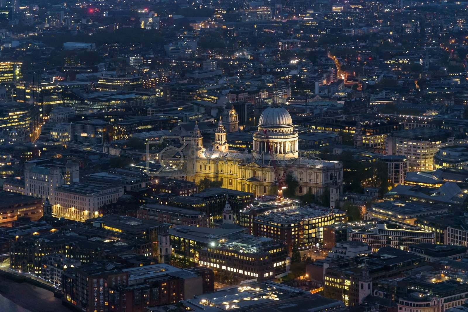 Royalty free image of Aerial view of St Pauls Cathedral in London at night by mkos83