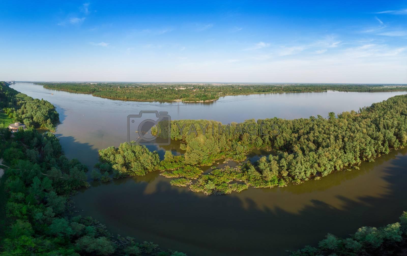 Aerial view of big siberian Ob river by rusak