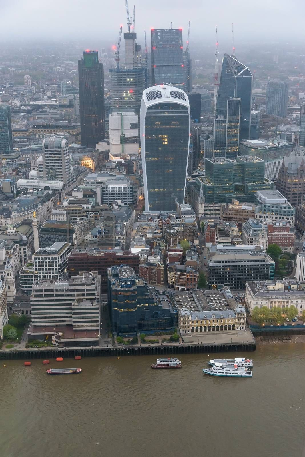 Aerial view of City of London at an overcast day