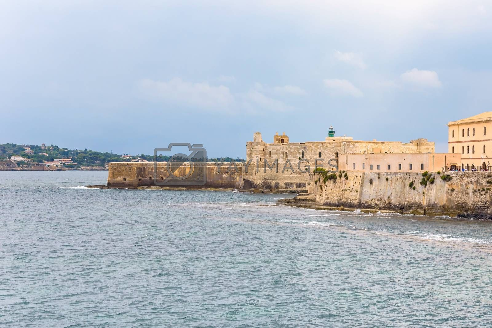 Waterfront with Maniace Castle on Ortygia Island in Syracuse, Sicily, Italy