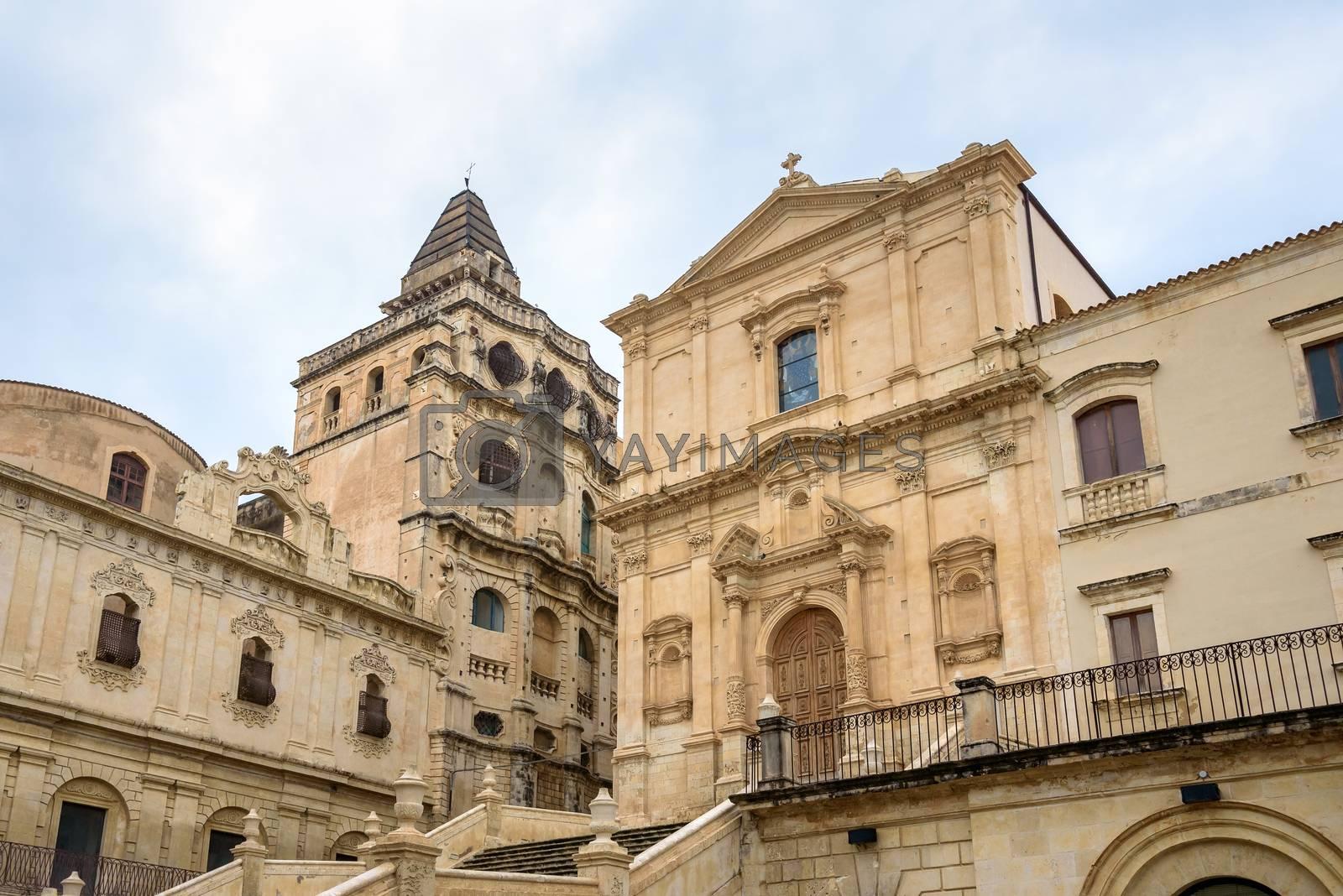 Facade of the San Francesco Assisi church in Noto, Sicily, italy