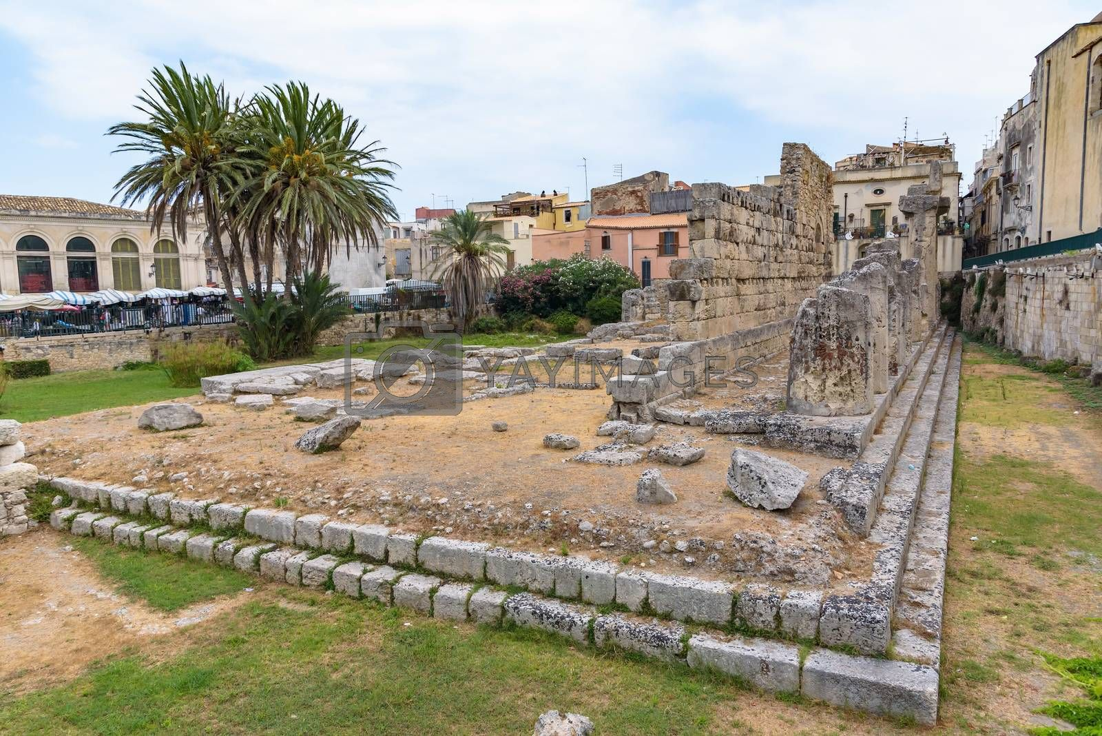 Ruins of the Temple of Apollo on Ortygia Island in Syracuse, Sicily, Italy