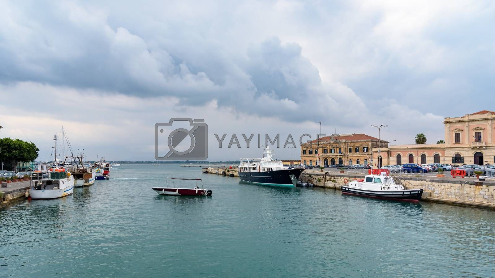 Panoramic view of port of Syracuse at the Ortigia Island, Sicily, Italy