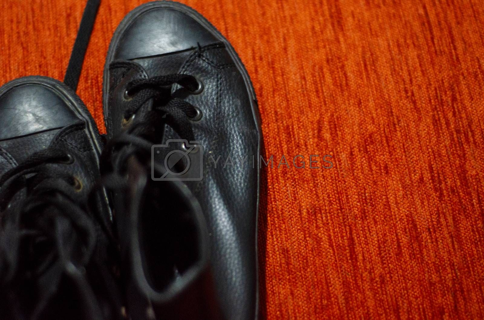 Royalty free image of Old Black Leather Stylish Shoes, Vintage, Fashion by Hasilyus