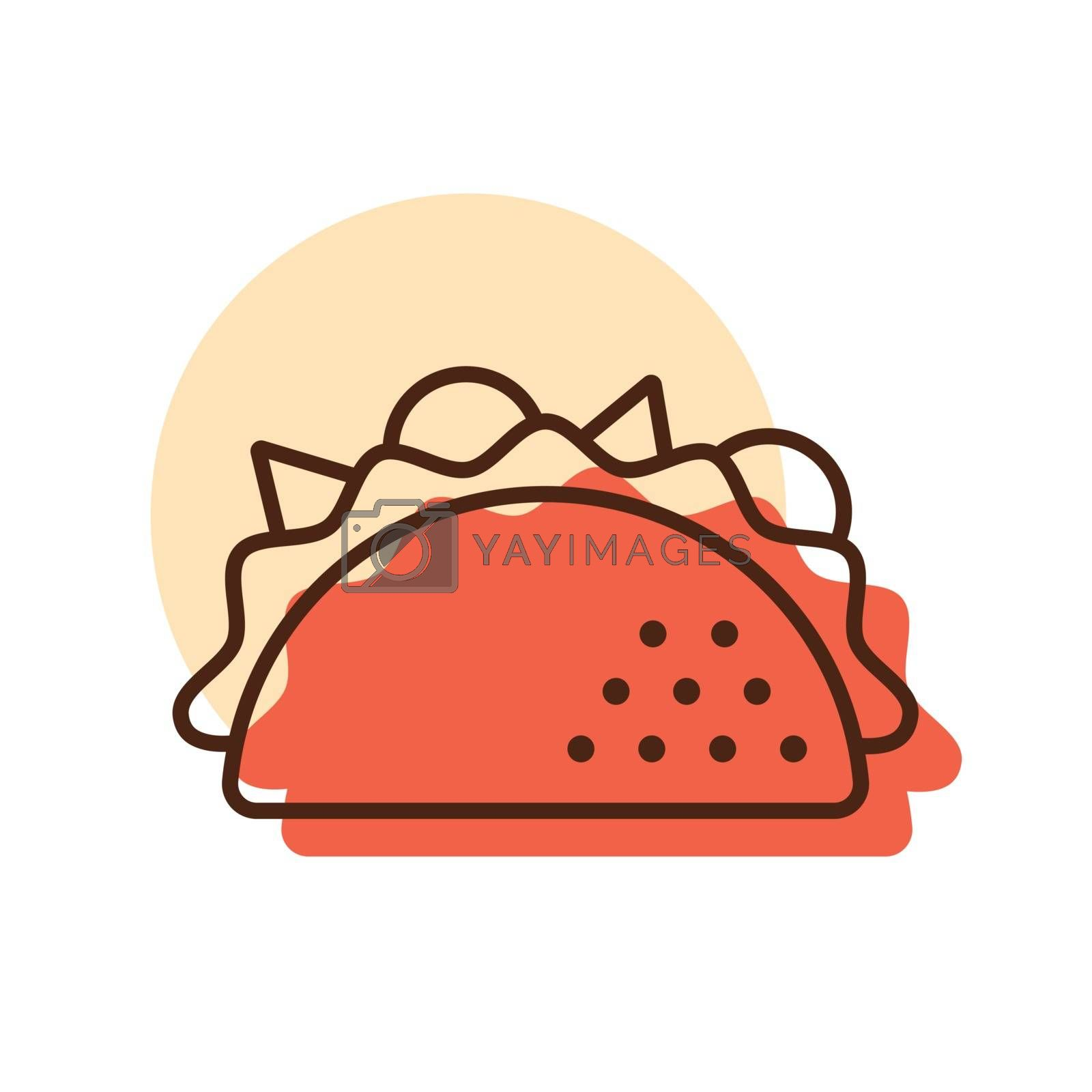 Taco vector icon. Fast food sign. Graph symbol for cooking web site and apps design, logo, app, UI