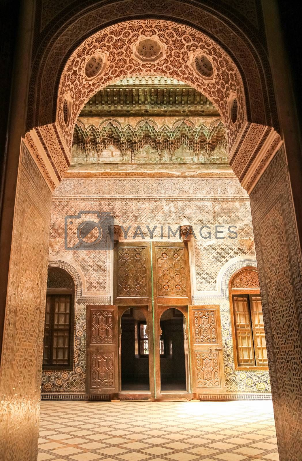 Interior of the old Telouet kasbah – former palatia residence of Glaoui tribe