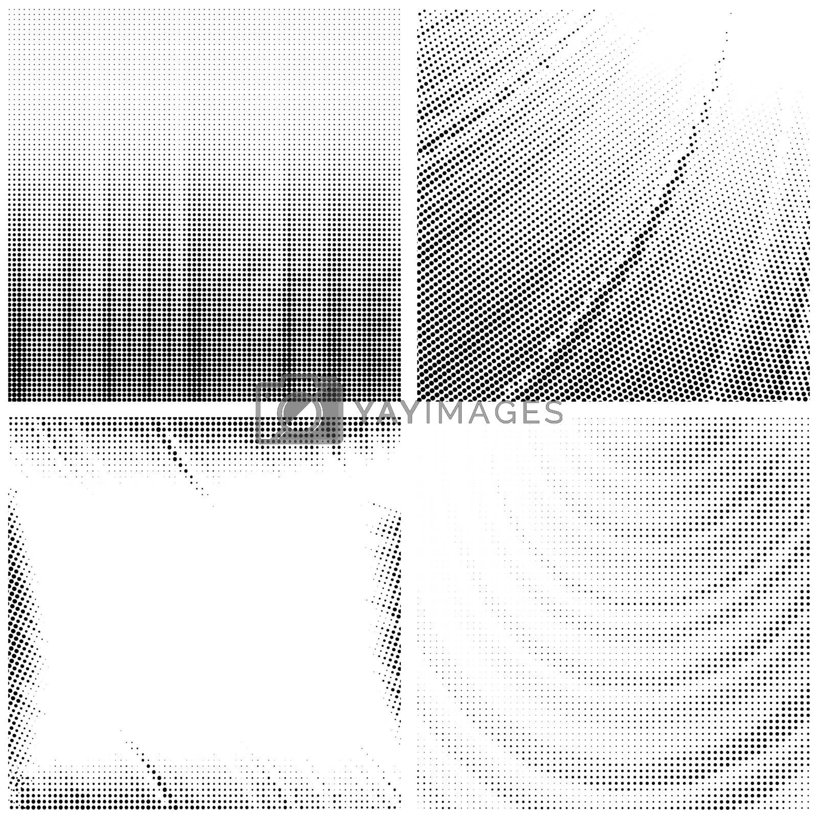 Halftone Pattern. Set of Dots. Dotted Texture on White Background. Overlay Grunge Template. Distress Linear Design. Fade Monochrome Points. Pop Art Backdrop.