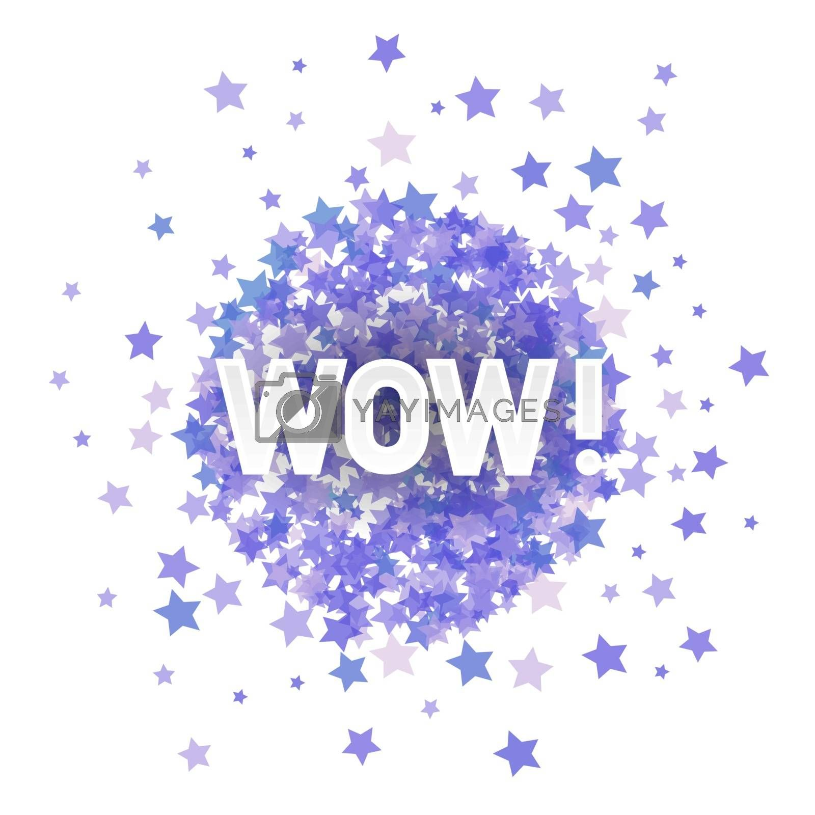 WOW Lettering on Blue Transparent Starry Background for Web Banners, Header, Shop, Logo, Logotype, Sign.