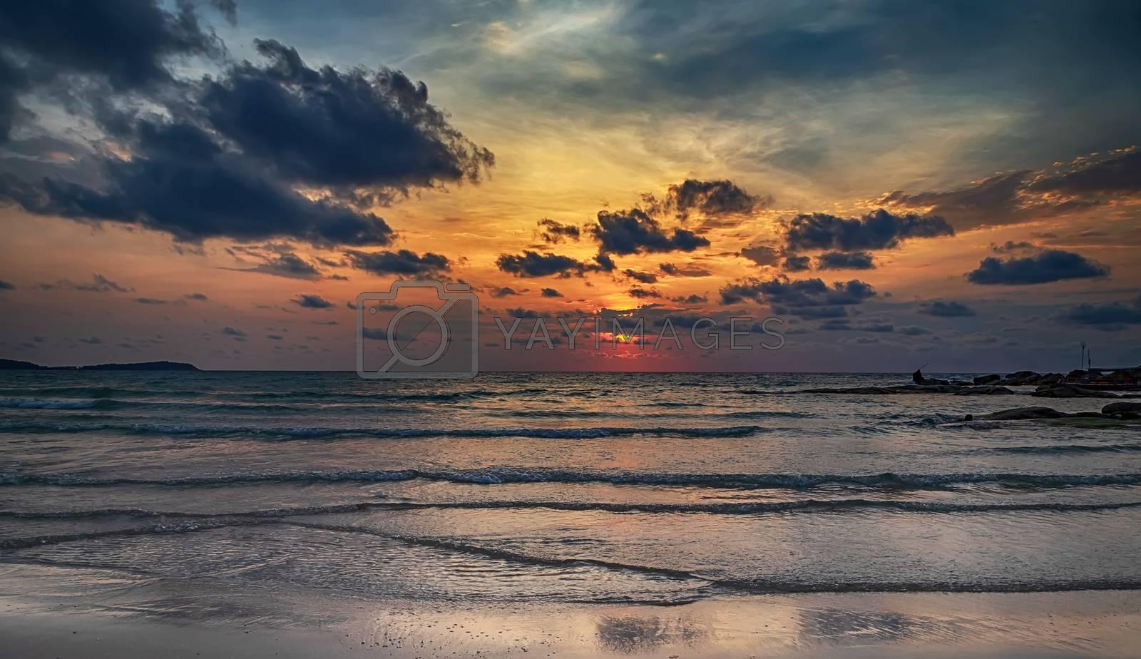 Tropical background the sandy beach Sun