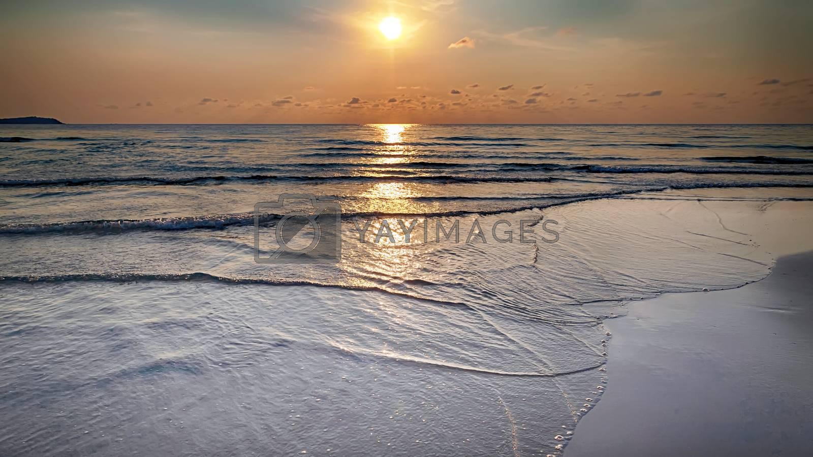 landscape sea shore sunny day background.