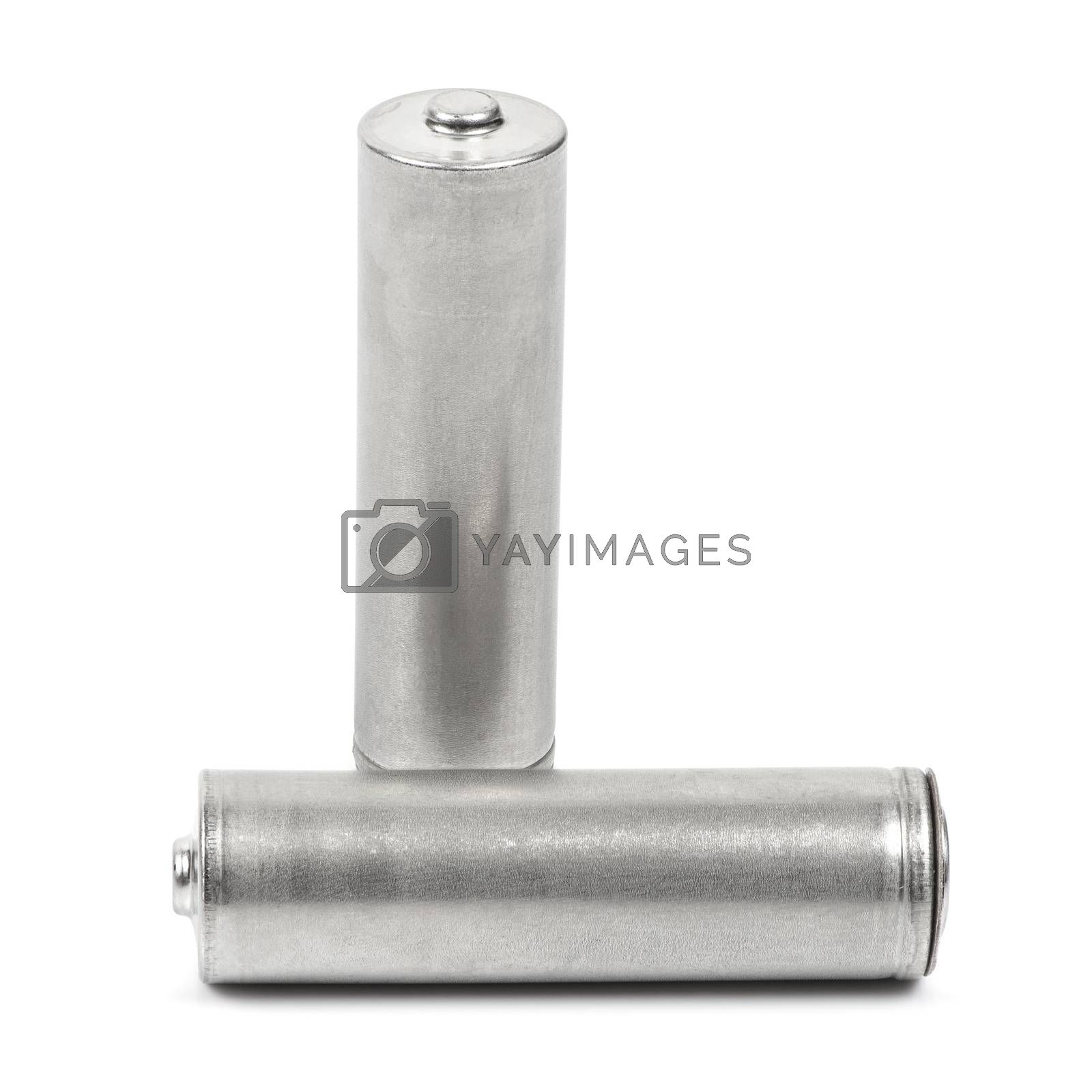 Two AA size batteries on white background with clipping path