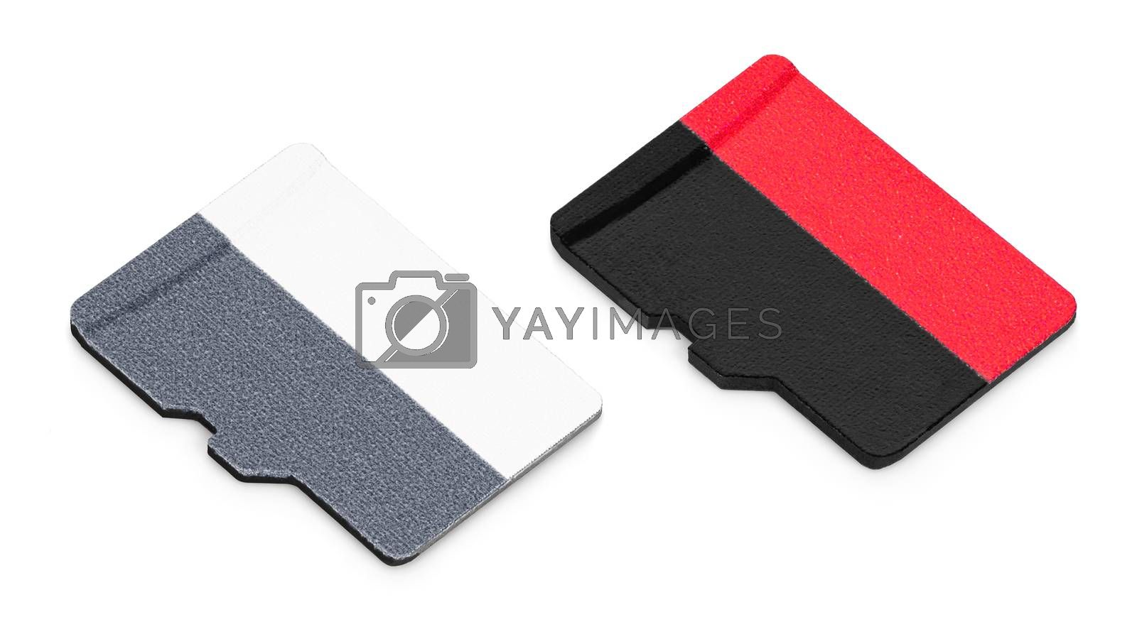 Two blank micro SD memory cards isolated on white background with clipping path