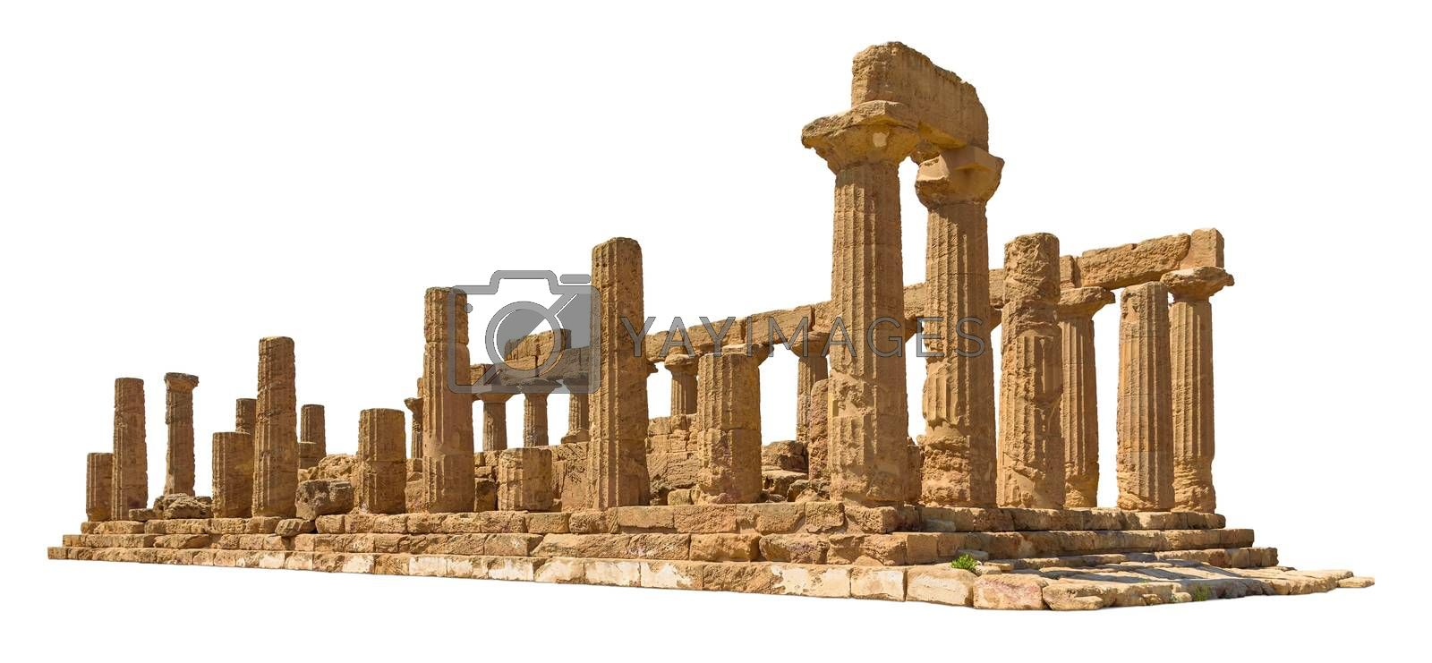 Ancient Temple of Juno in Agrigento isolated on white background with clipping path