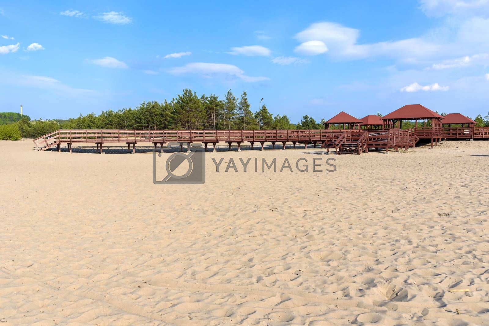 """Wooden structure called """"wind rose""""on the edge od Bledow Desert, Poland"""
