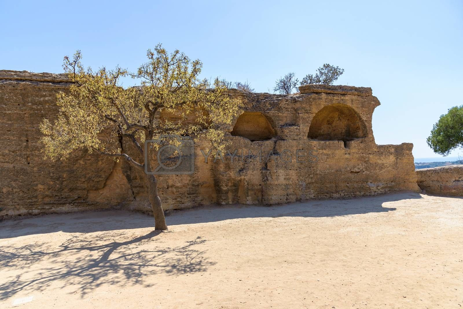 Remains of the greek fortifications of ancient Greek Akragas in the Valley of the Temples in Agrigento, Sicily, Italy