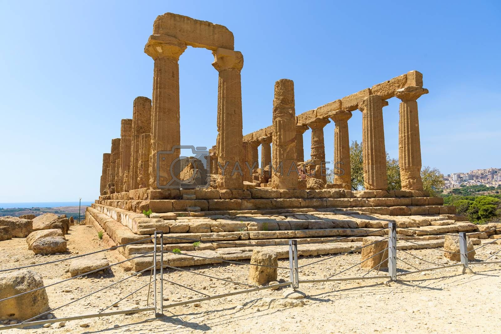 Ruins of the Temple of Juno in the Valley of the Temples in Agrigento, Sicily, Italy