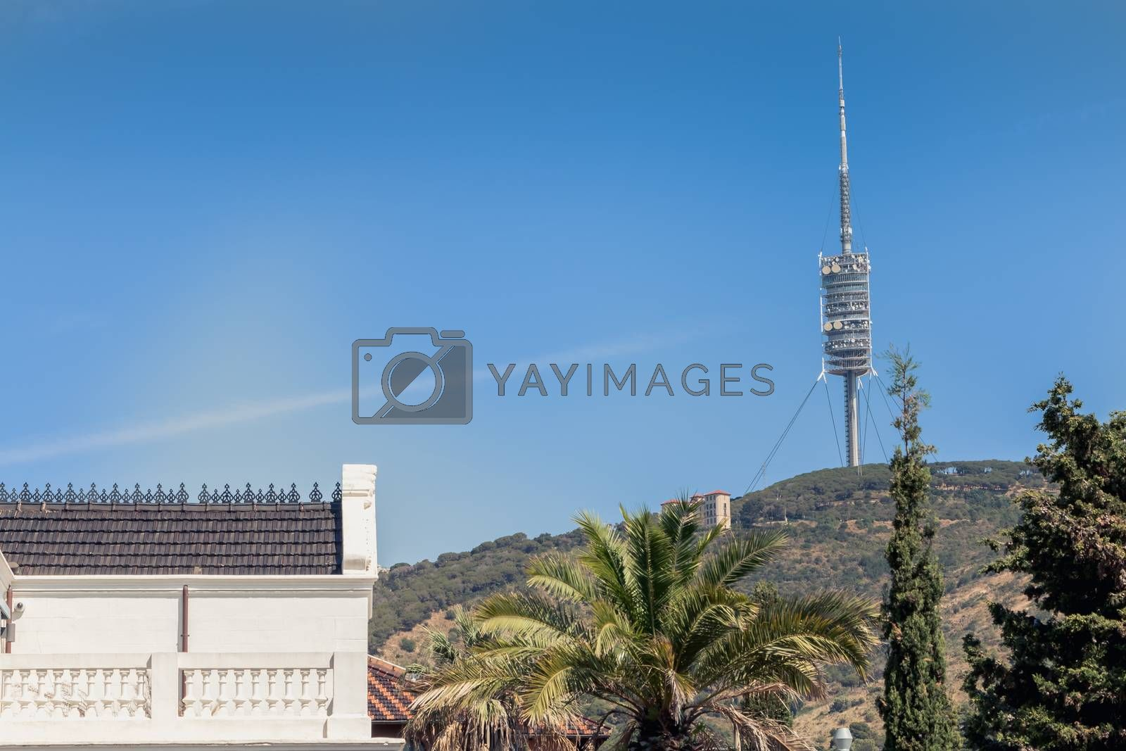 Barcelona, Spain - June 20, 2017: on the heights of Barcelona, the Tower of Collserola (Torre de Collserola), a communication tower of the British architect Norman Foster and inaugurated on June 27, 1992