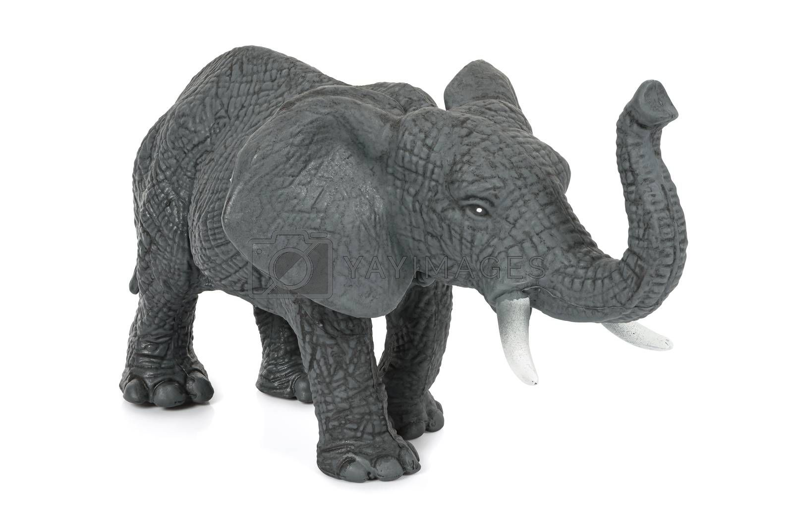 Elephant toy figure isolated on white background with clipping path
