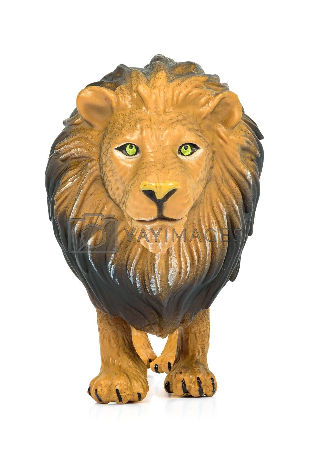 Lion toy figure isolated on white background with clipping path
