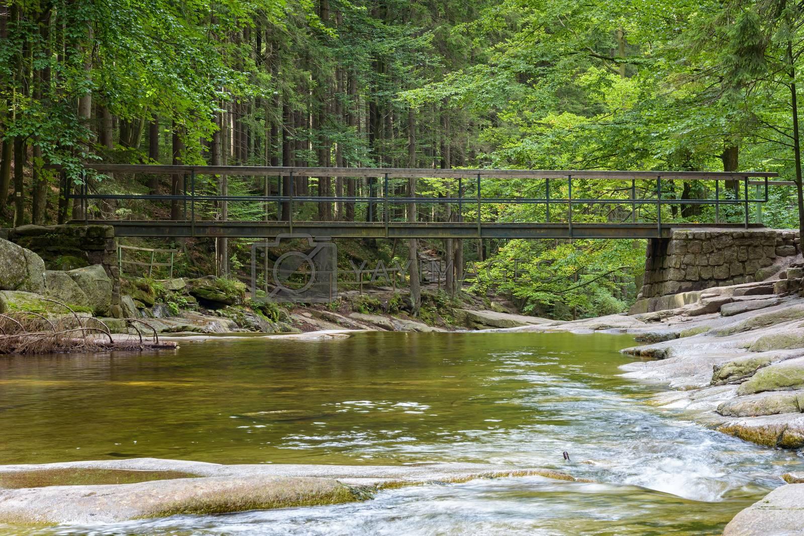 Bridge over the Mumlava river near Harrachov in Czech Giant Mountains