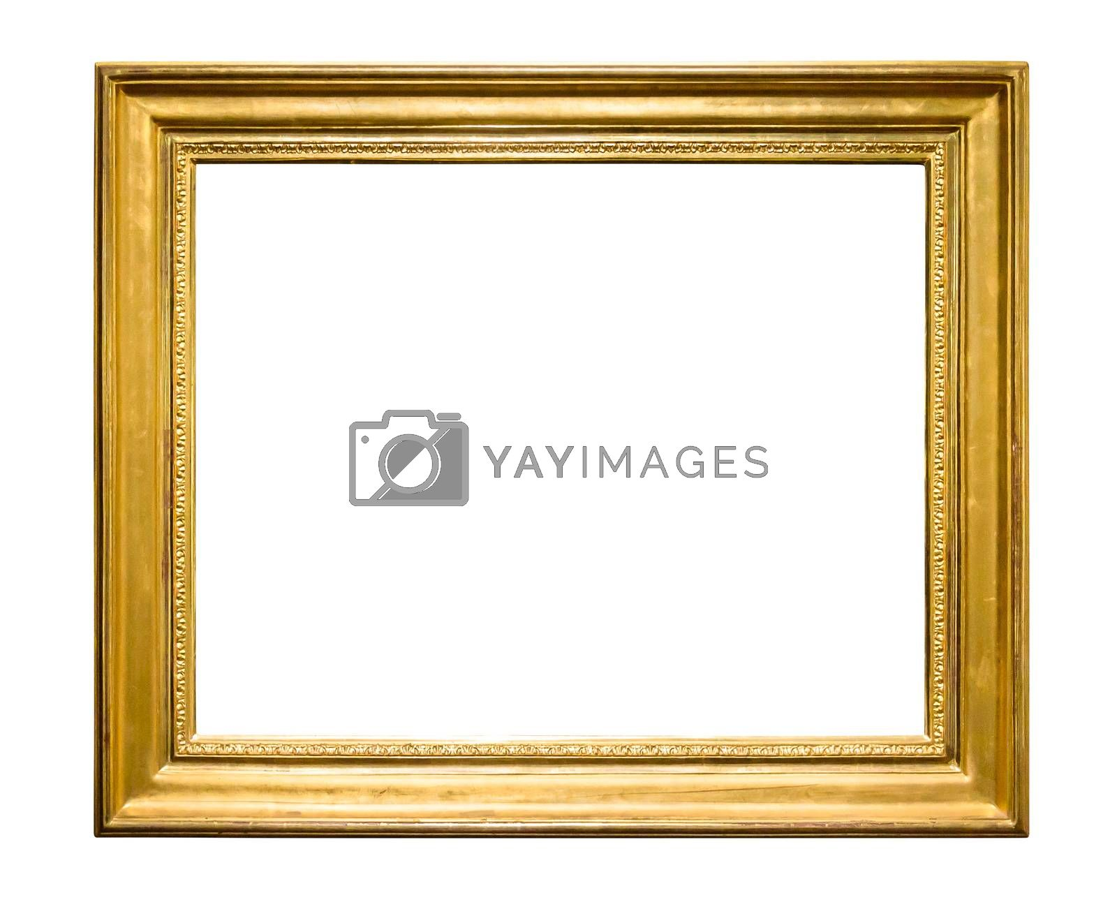 Rectangle decorative golden picture frame isolated on white background with clipping path