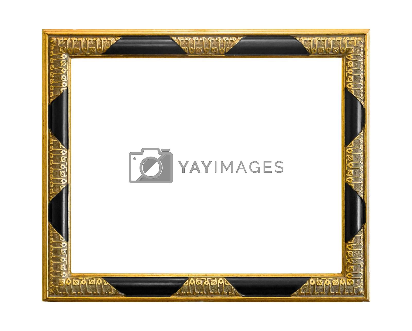 Golden decorative picture frame with black elements isolated on white background with clipping path