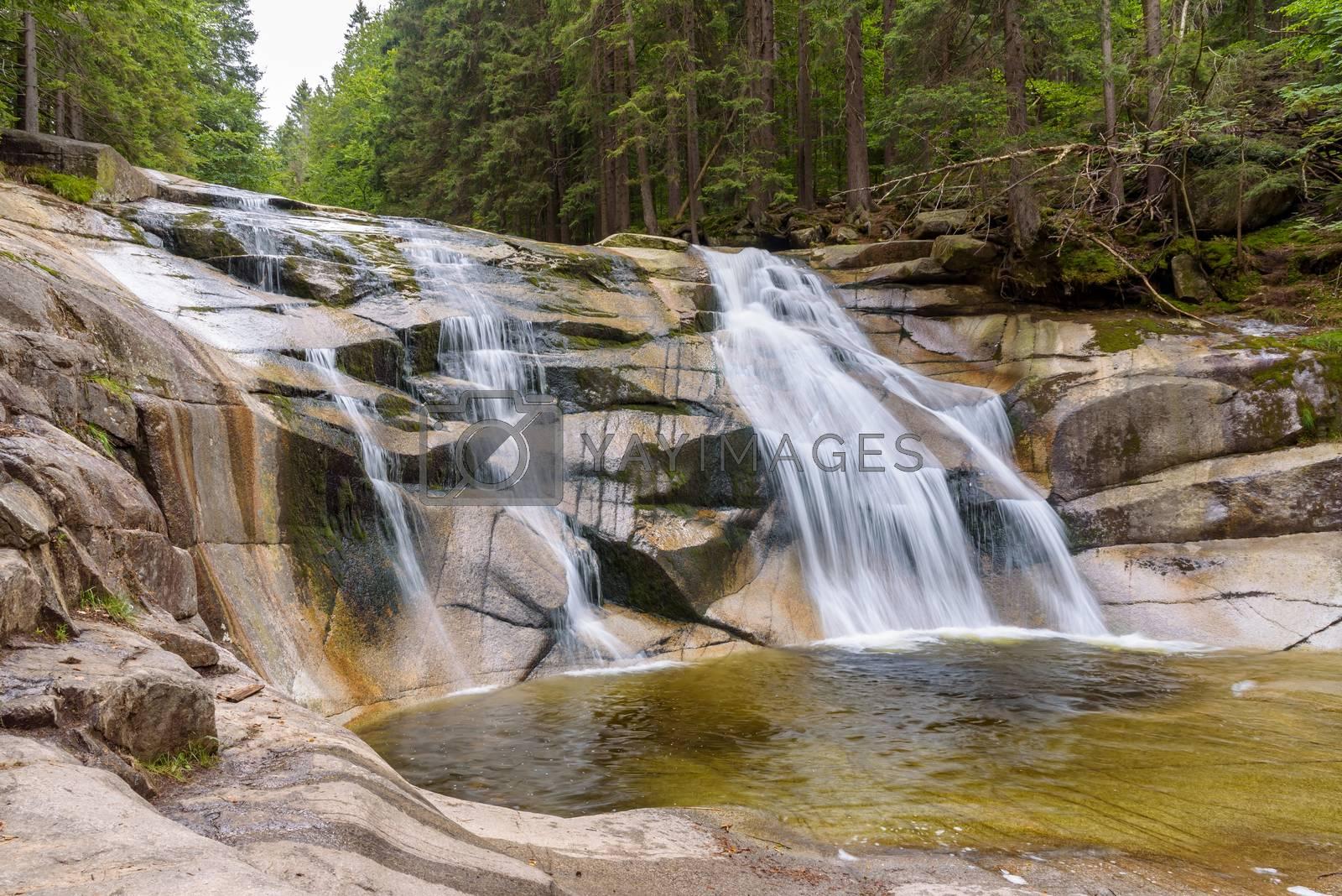 View of Mumlava Waterfall near Harrachov in Czech Giant Mountains