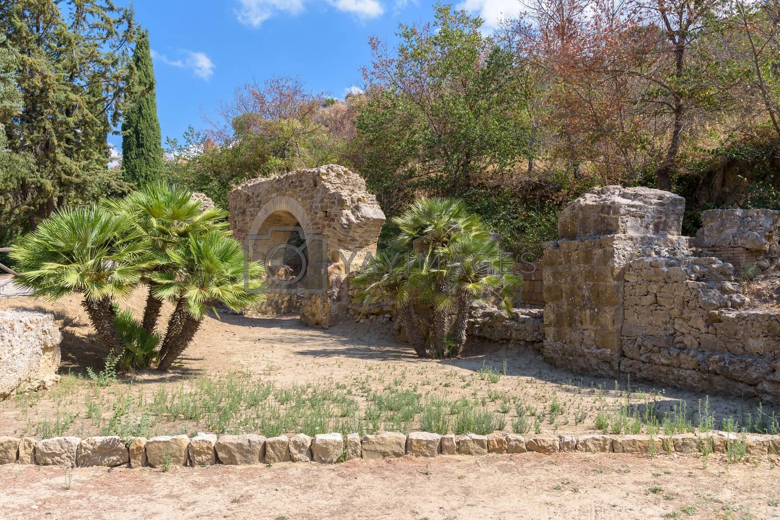 Ruins of the ancient Villa del Casale near Piazza Armerina town on Sicily, Italy