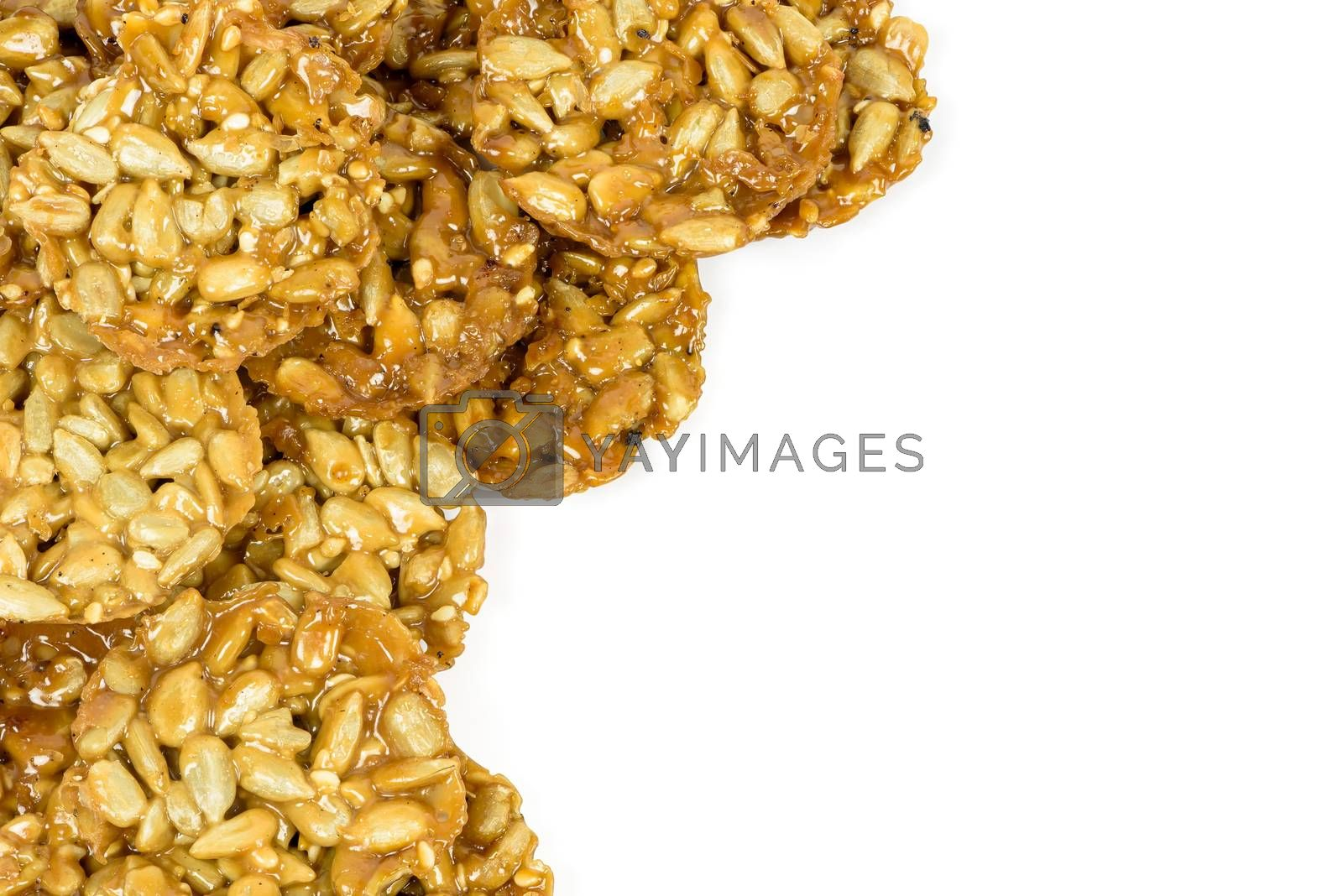 Heap of florentine biscuits as a culinary background with copy space