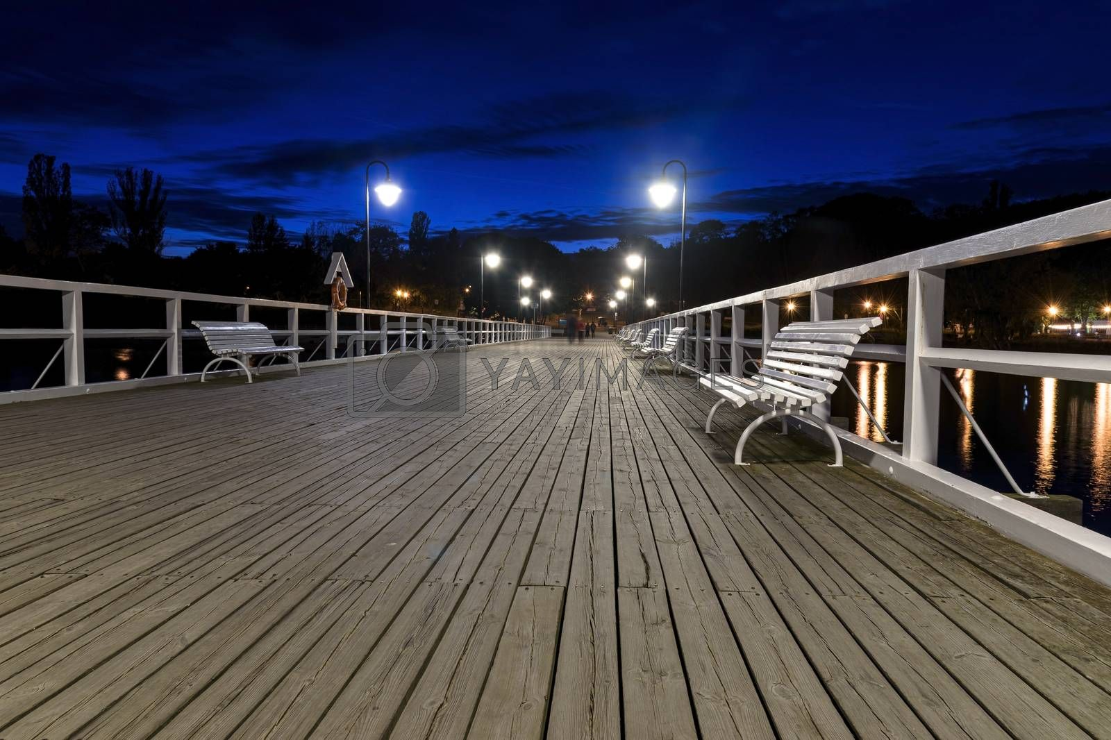 Night view of the pier in Gdynia Orlowo in Poland