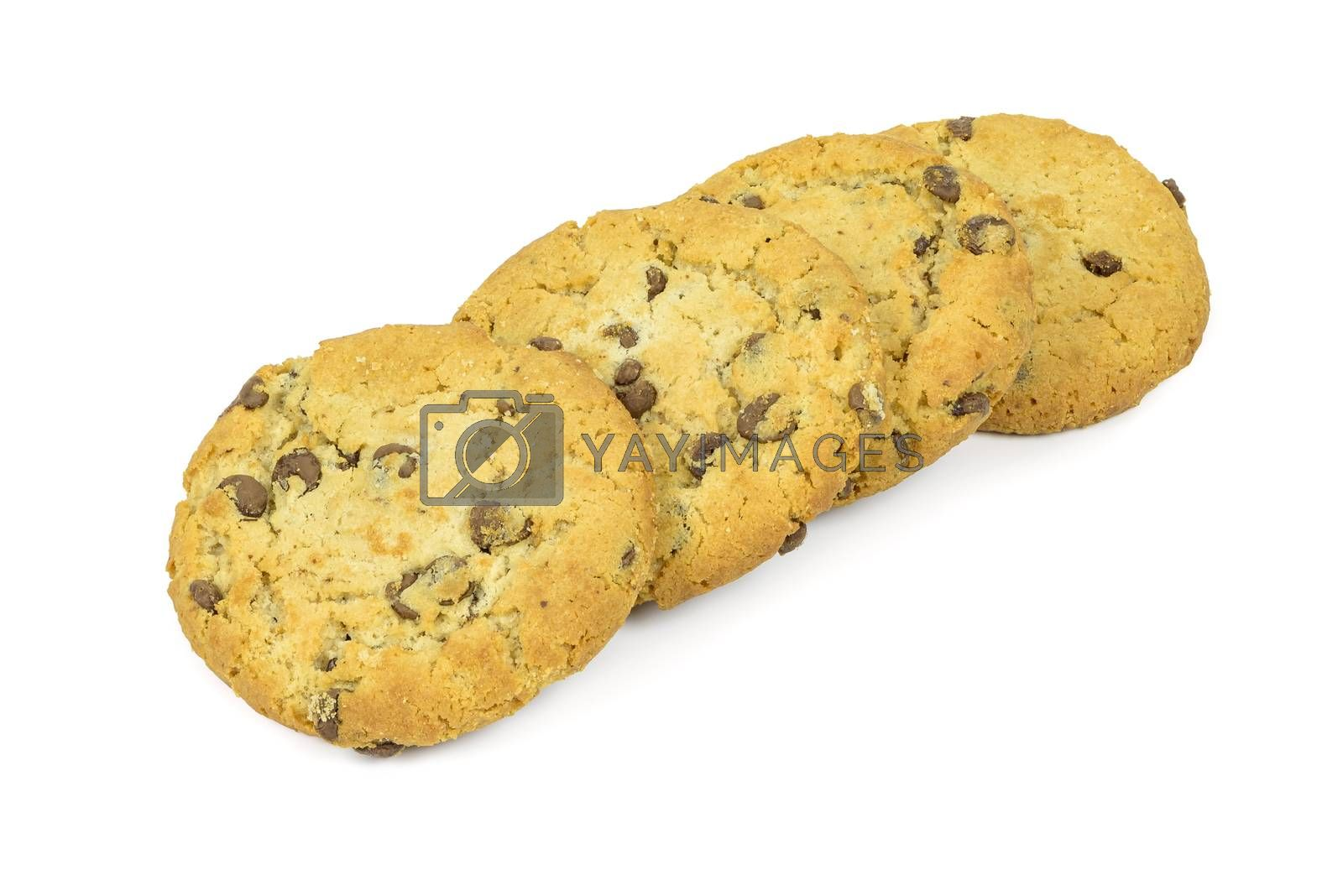 Chocolate chips cookies in a row isolated on white background with clipping path