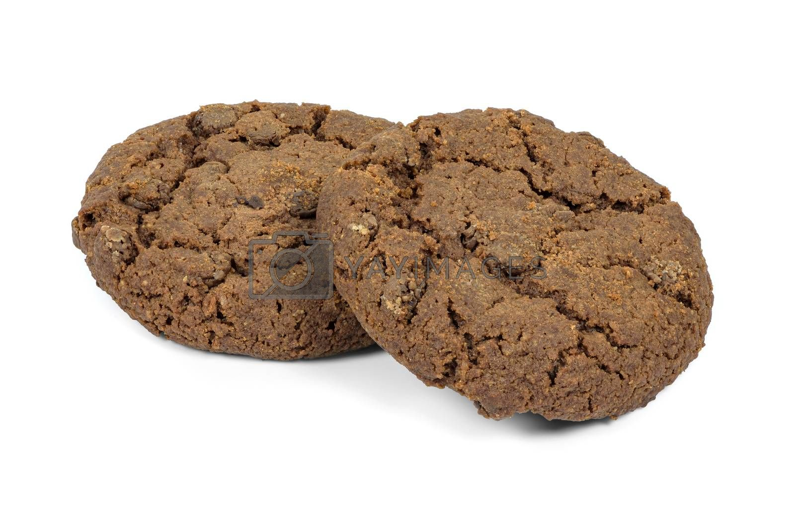 Dark chocolate chips cookies isolated on white background with clipping path