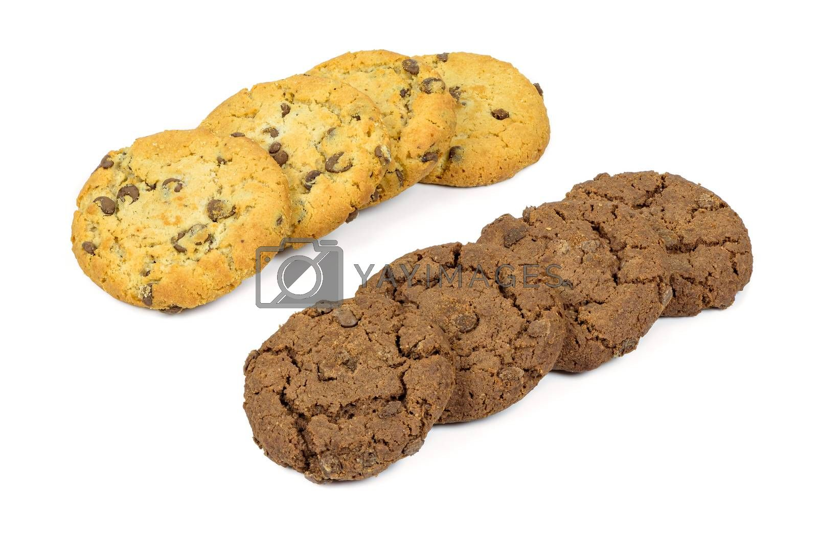 Different chocolate chips cookies in a rows isolated on white background with clipping path