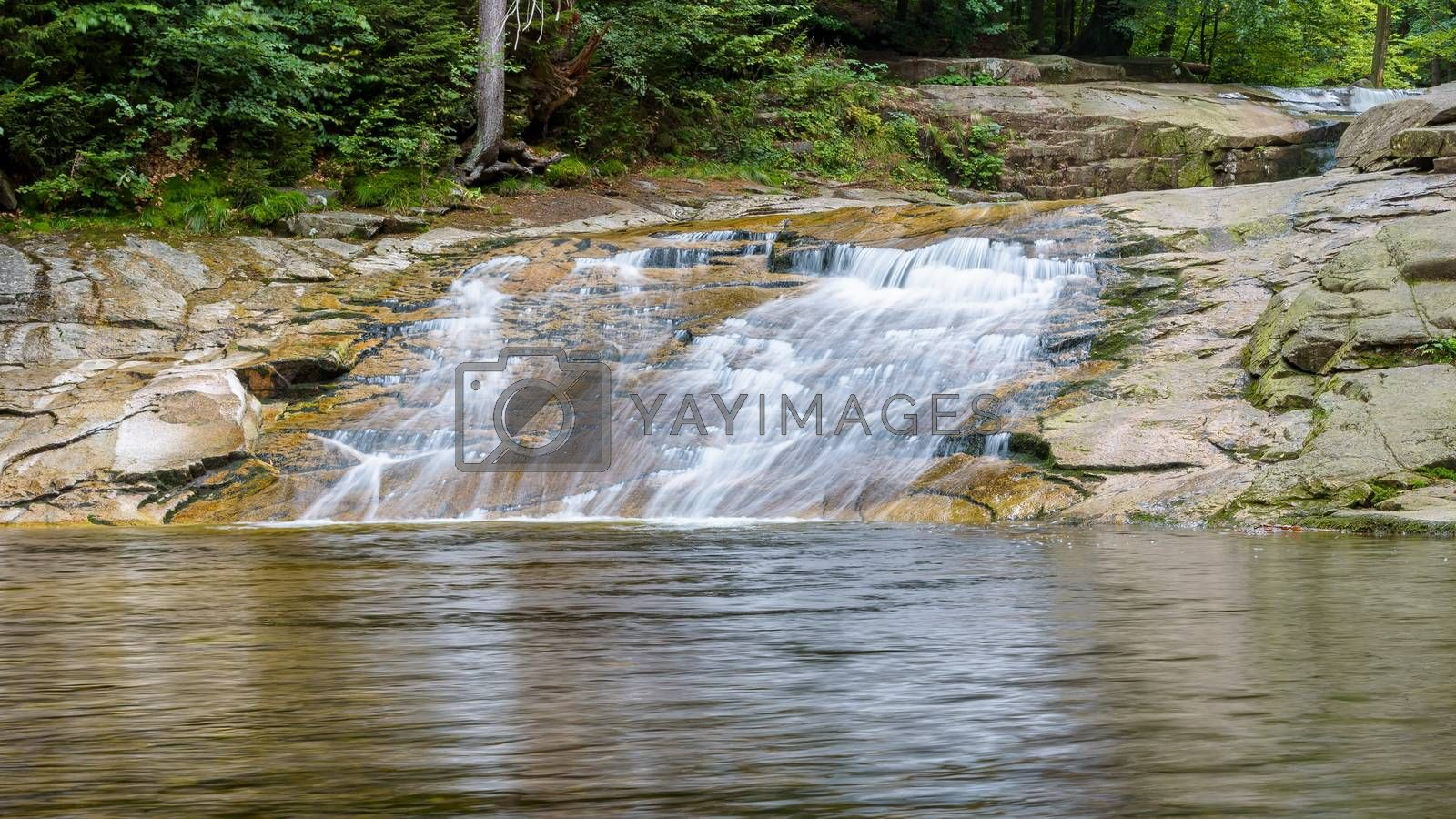 Blurred water of the cascades on the Mumlava river near Harrachov in Giant Mountains in Czech Republic